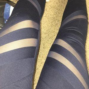 Blue leggings with mesh